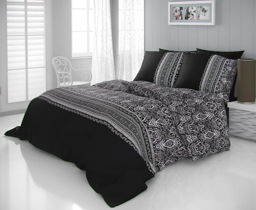 Luxusné saténové obliečky s ornamentmi čiernobielej farby Kvalitex
