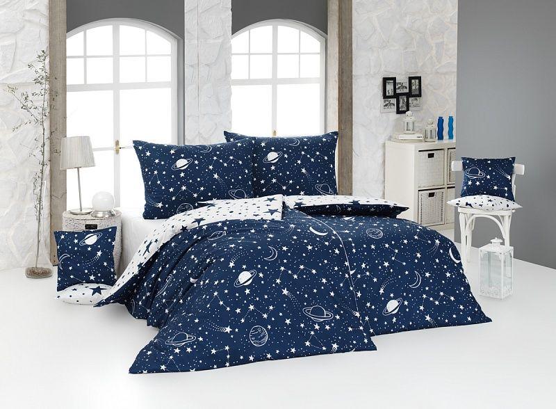 Kvalitné bavlnené obliečky Galaxy s vesmírnymi motívmi v modro-bielej Matějovský