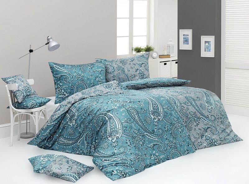 Kvalitné saténové obliečky Sensual s kašmírovým vzorom v šedo-modrej farbe Matějovský
