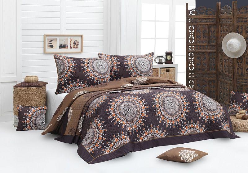 Prehoz Caramel so vzormi mandaly v čokoládových odtieňoch. Matějovský