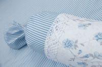 Krepové posteľné prádlo so vzorom průžku a růža modré farby