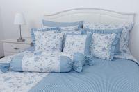 Krepové posteľné oblečky RŮŽA MODRÁ negativ s proužkem