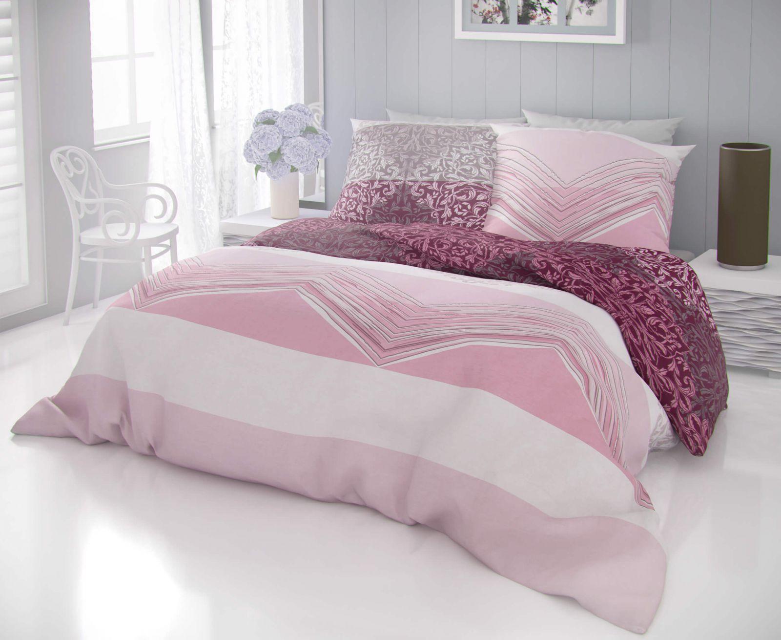 Kvalitné bavlnené obliečky s kvetinovými ornamentami a pruhy v ružových a béžových odtieňoch DELUX SIMON růžová Kvalitex