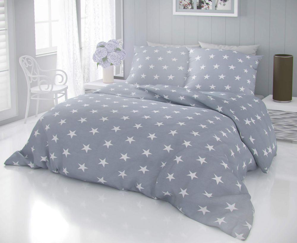 Kvalitné bavlnené obliečky s motívom bielych hviezd na šedom podklade DELUX STARS šede Kvalitex