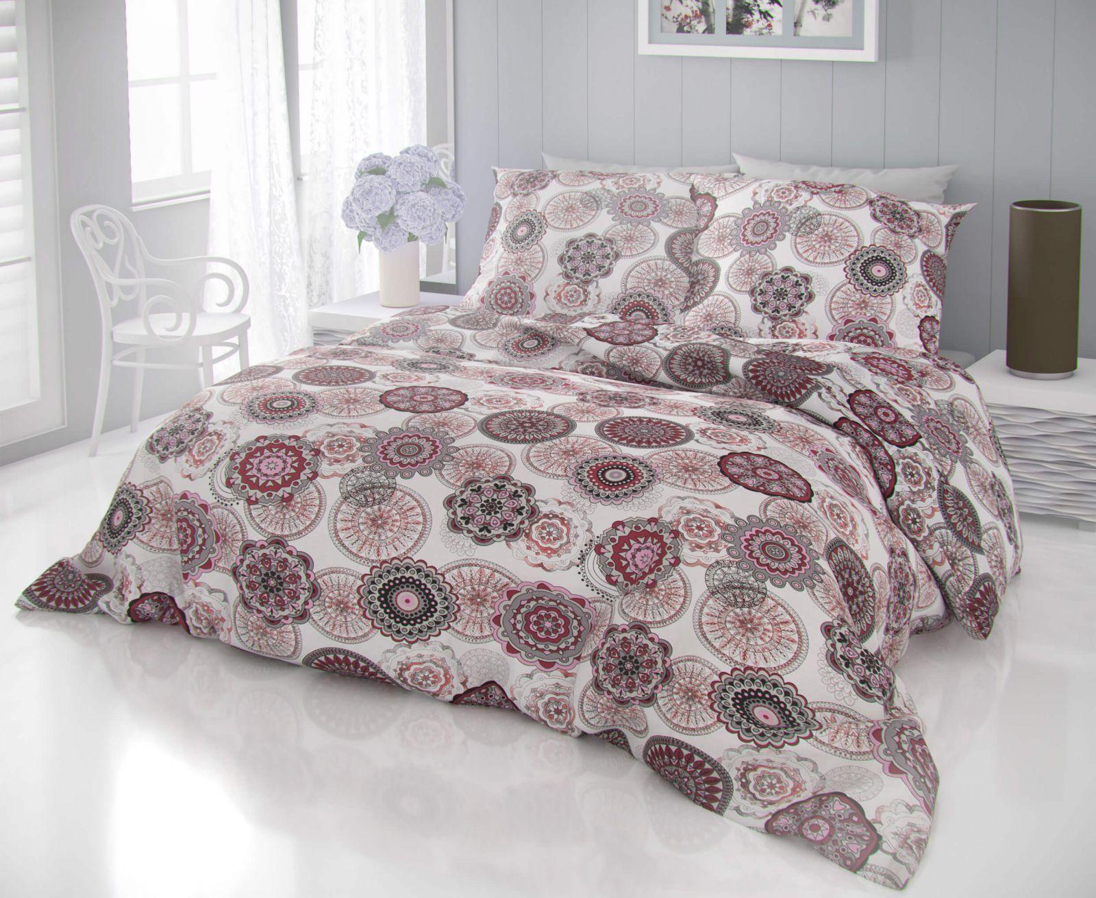 Kvalitné bavlnené obliečky so vzorom ornamentov červene a ružove farby DELUX Zatar červená Kvalitex