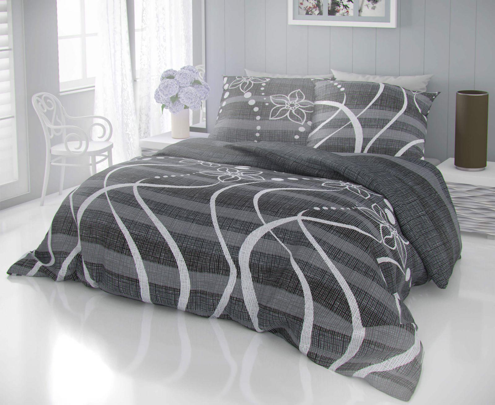 Kvalitné bavlnené obliečky šedých odtieňov so vzorom bodiek a kvietkov DELUX VALERY šedé Kvalitex