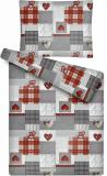 Obliečky MIKROFLANEL Patchwork šedo-červeny