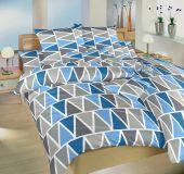 Obliečky bavlna Trojuholníky modré