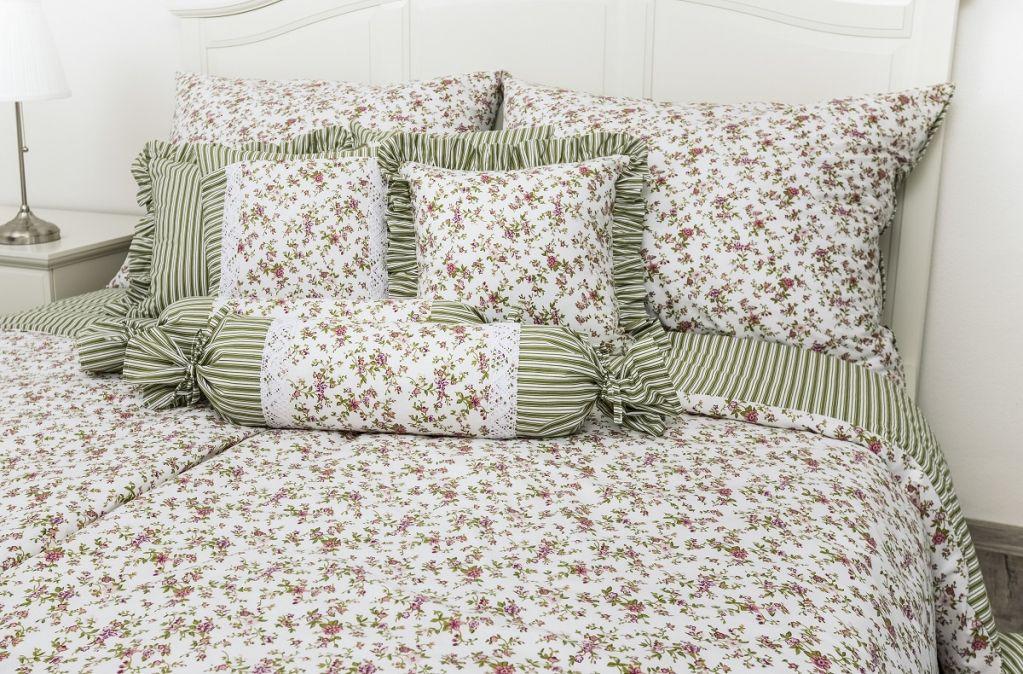 Posteľné prádlo so vzorom kvietku, bavlna,zelená farba