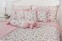 Krepové posteľné oblečky Kvietok růžová