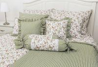 Krepové posteľné oblečky Kvietok zelený s průžkami