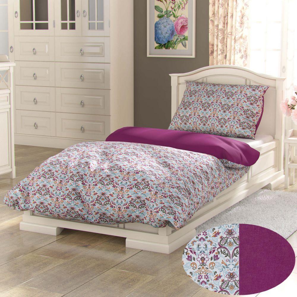 Krásne bavlnené obliečky s farebným kvietinovym vzorom a purpurové farbě Narista Kvalitex