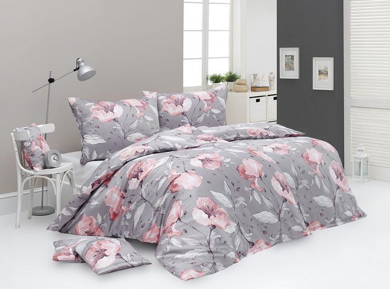 Kvalitné bavlnené obliečky Amabel s prírodnými motívmi na šedom podklade Matějovský