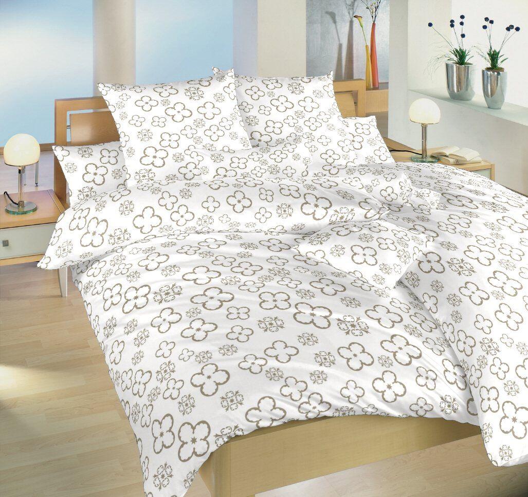 Bavlnené obliečky na bielom podklade s motívom štvorlístkov Štvorlístok opál Dadka