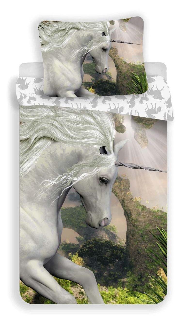 Bavlnené obliečky s motívom bieleho jednorožca Jerry Fabrics