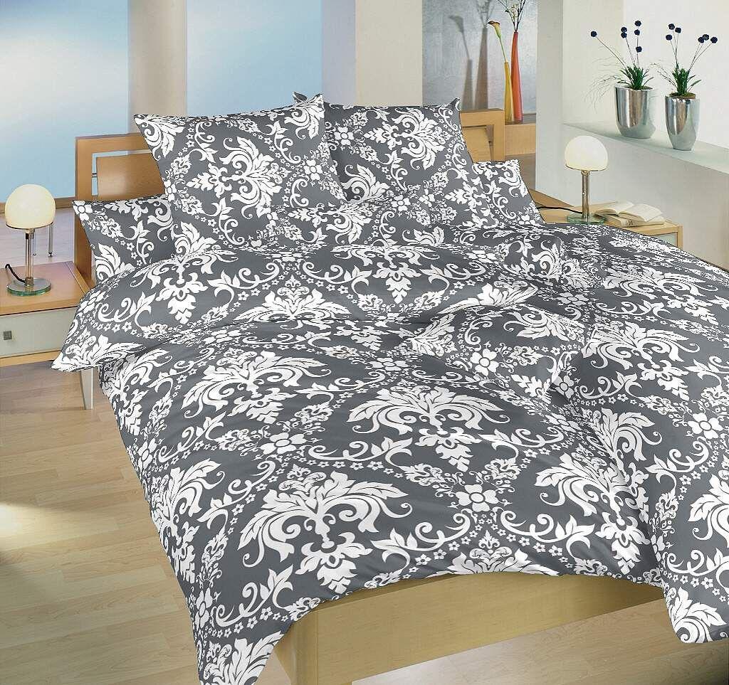 Krepové obliečky šedej farby so vzorom tapety Dadka