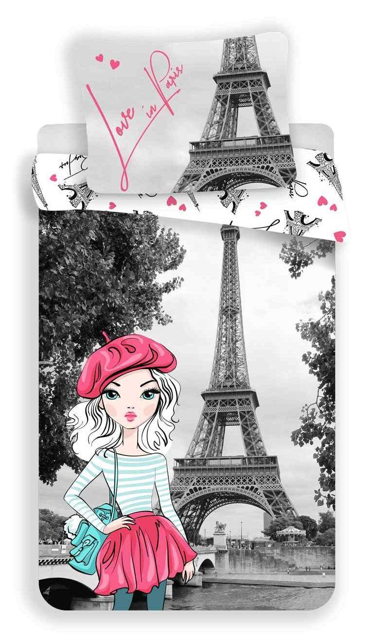 Bavlnené obliečky s motívom Eiffelovej veže a dievčatka Jerry Fabrics