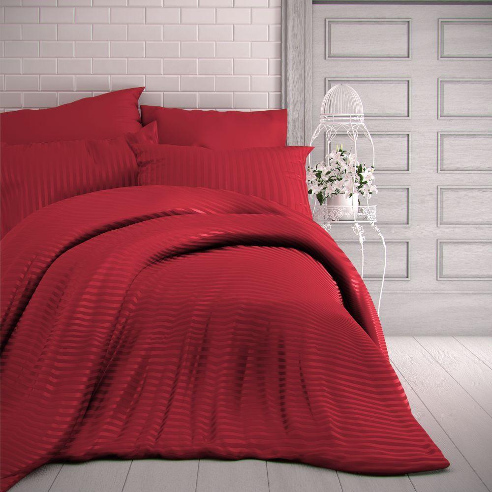 Saténové obliečky červené s prúžky luxusné. Kvalitex