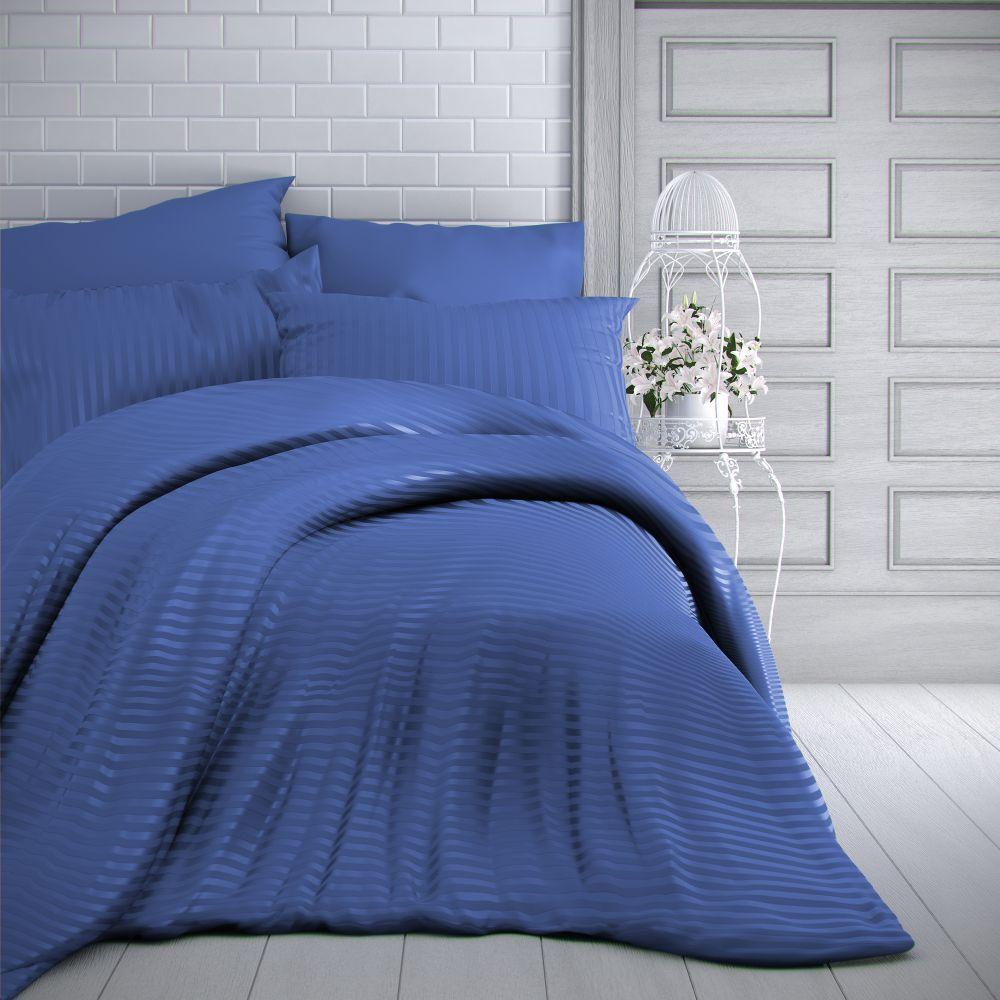Saténové obliečky modré s prúžky luxusné. Kvalitex