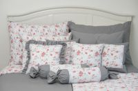 Krepové posteľné oblečky RŮŽA červená / ŠEDÁ uni