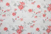 Krepové posteľné prádlo so vzorom růža červené farby a šedé farby