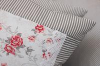 Poťah valček šedý drobny průžok a červená růža
