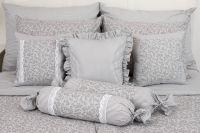 Bavlnené posteľné obliečky ŠEDÁ LATA / ŠEDÝ PRÚŽOK