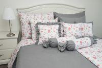 Bavlnené posteľné obliečky  RŮŽA ČERVENÁ / ŠEDÁ uni