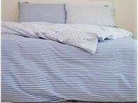 Krepové posteľné obliečky Pruhy modré / Květinky