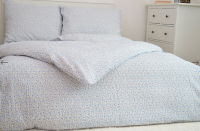 Krepové posteľné obliečky Kvetinky modré