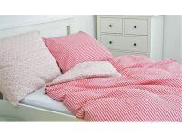Krepové posteľné obliečky Pruhy červené / Květinky