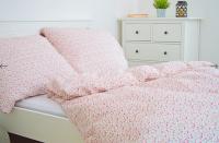 Krepové posteľné obliečky Kvetinky červené