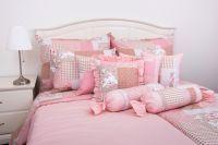 Krepové posteľné oblečky PATCHWORK RŮŽOVÝ / UNI PINK