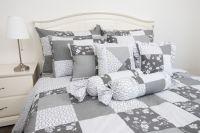Krepové posteľné oblečky PATCHWORK GRAY / ornamenty