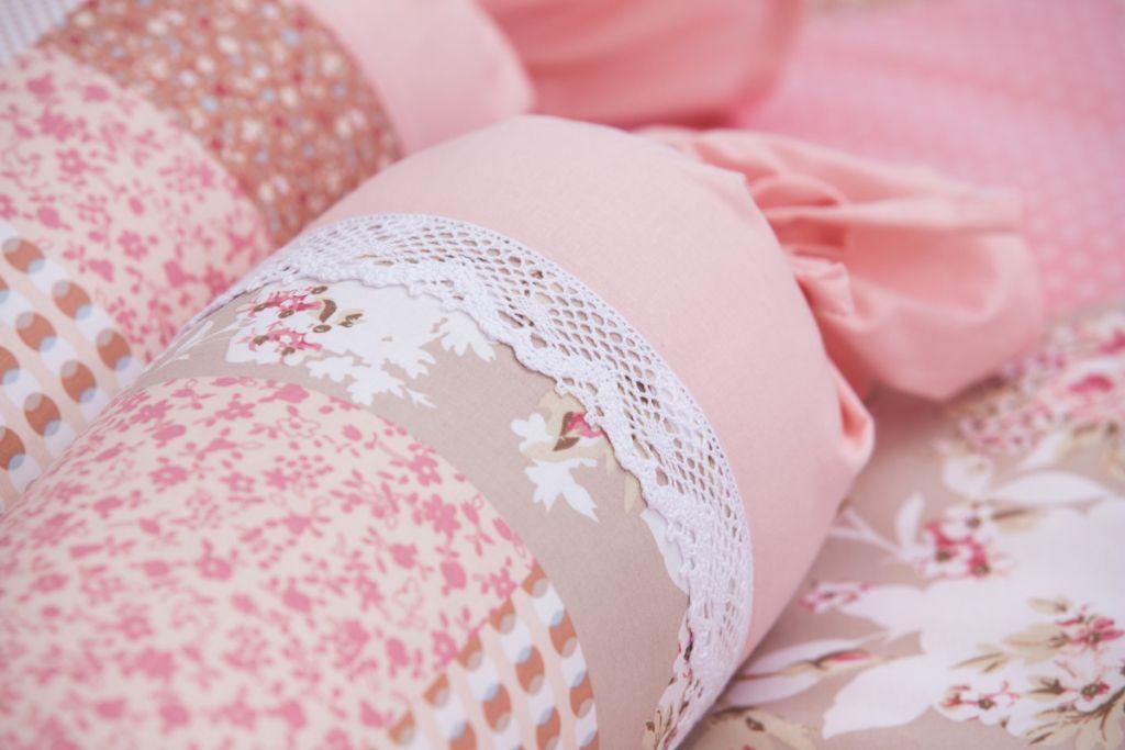 Poťah valček patchowrk ružový
