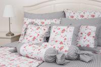 Flanelové posteľné obliečky RŮŽA červená negativ s průžkom