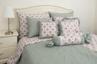 Flanelové posteľné obliečky ROSE / OLIVOVÝ PRÚŽOK