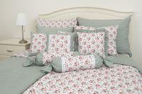 Flanelové obliečky obojstranné sedliackeho štýlu so vzorom ruže ladené do zelene farby