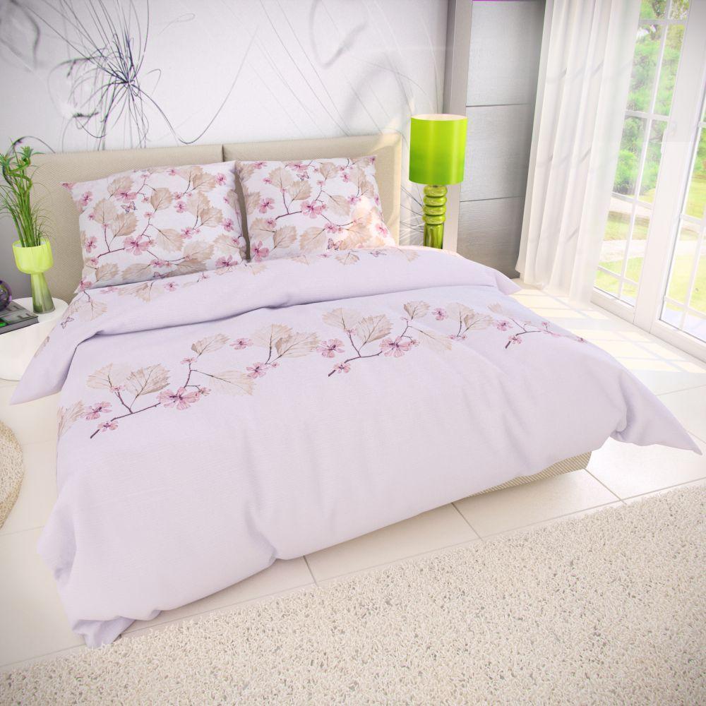Kvalitné bavlnené obliečky s kvety čerešní na bílo-sivém podklade. Kvalitex