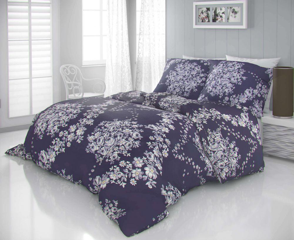 Luxusné a moderné satenové obliečky s motívom kvetin. Kvalitex