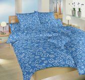58/5000 Bavlnené obliečky modrej farby so vzorom bielych štvorlístkov Dadka