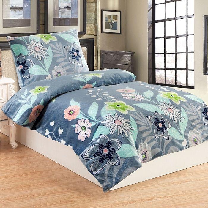 54/5000 Hrejivé mikroflanelové obliečky sivé so vzorom kvetín Jahu