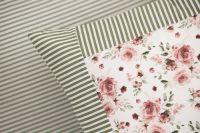Obliečky obojstranné sedliackeho štýlu so vzorom ruže ladené do zelene farby