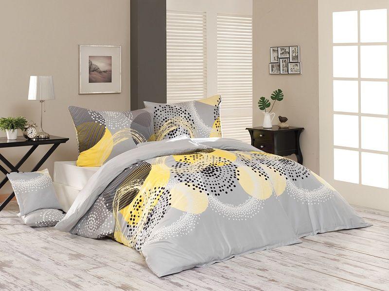 Luxusné flanelové obliečky so vzorom kružníc šedej farby s kombináciou žltej Matějovský