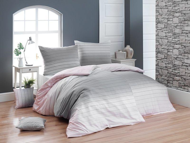 Luxusné krepové obliečky s decentným prúžok Ombré efektu ružovej a šedej farby Matějovský