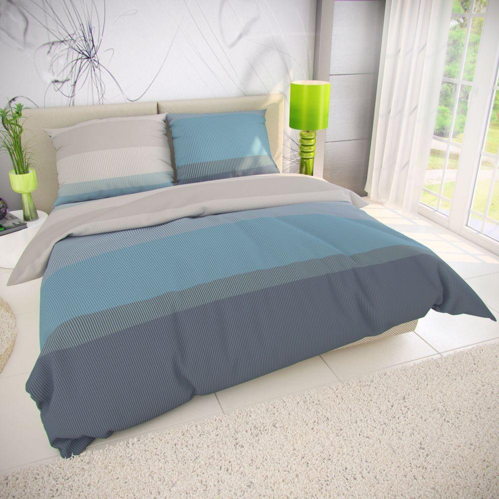 Posteľné bavlnené obliečky v modro-béžovej kombinácii. Kvalitex
