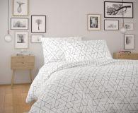 Bavlnené moderné obliečky FRIDA biela s geometrickým vzorom.