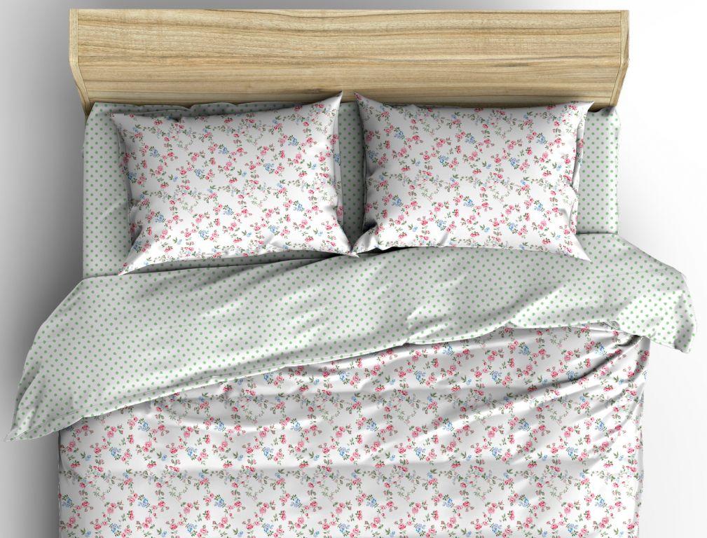 Krepové posteľné prádlo sedliackeho štýlu so vzorom drobných kvietkov a bodiek ladené do bielo-zelenej farby