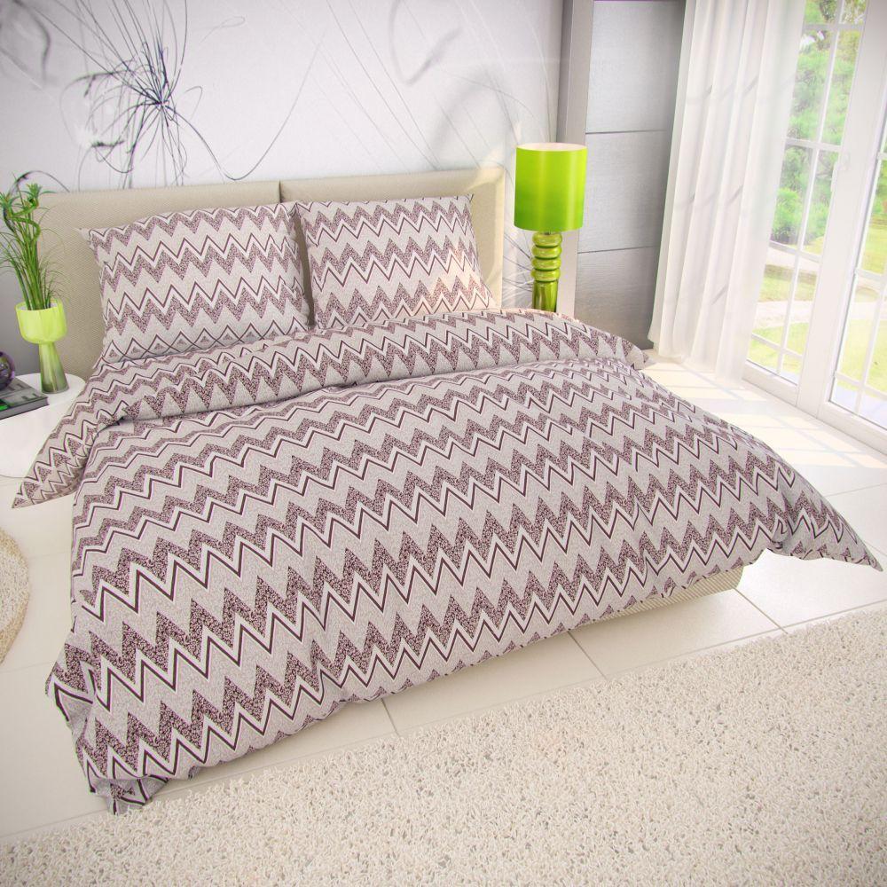 Krepové obliečky zo 100% bavlny s geometrickým motívom. Kvalitex