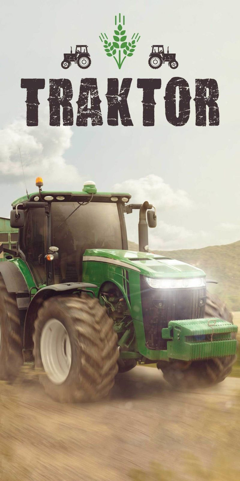 Detská osuška Traktor green Jerry Fabrics